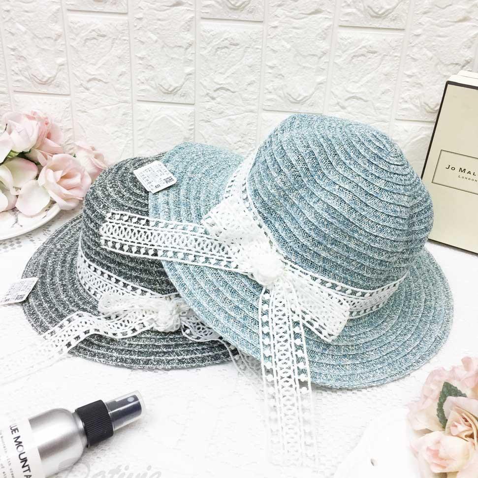 刷色層次 綁帶裝飾 蕾絲 蝴蝶結 帽子 草帽