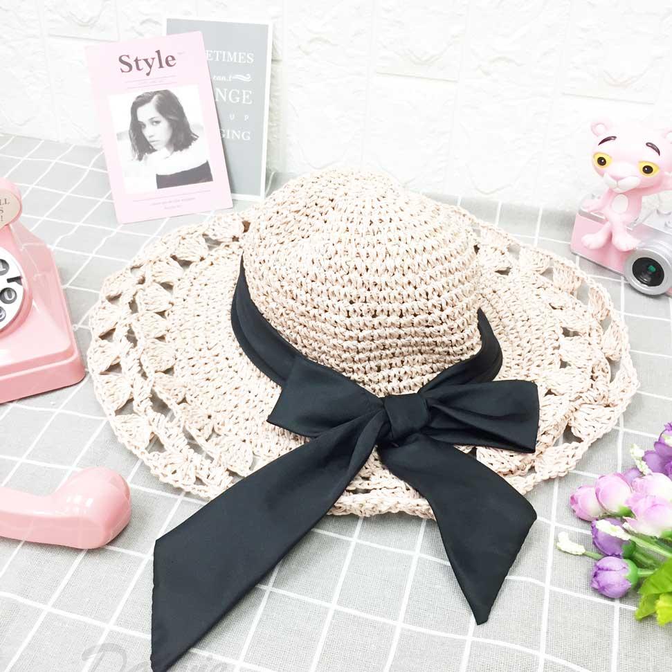 包鐵邊 可彎曲造型 粉色 綁黑帶 蝴蝶結 編織 紋路款 帽子 遮陽帽 草帽