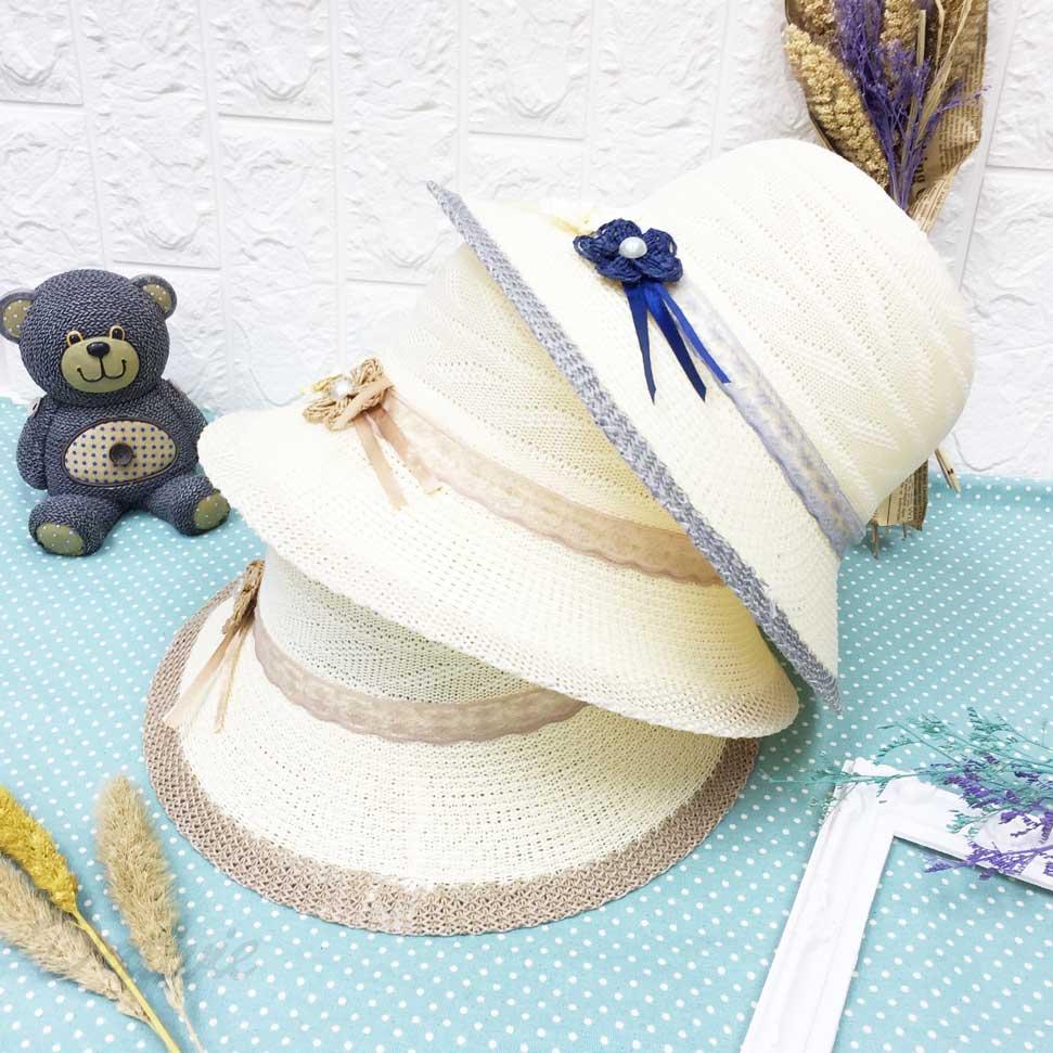 編織 燕麥紋 竹編珍珠花朵 帽沿針織配色 帽子 遮陽帽 草帽