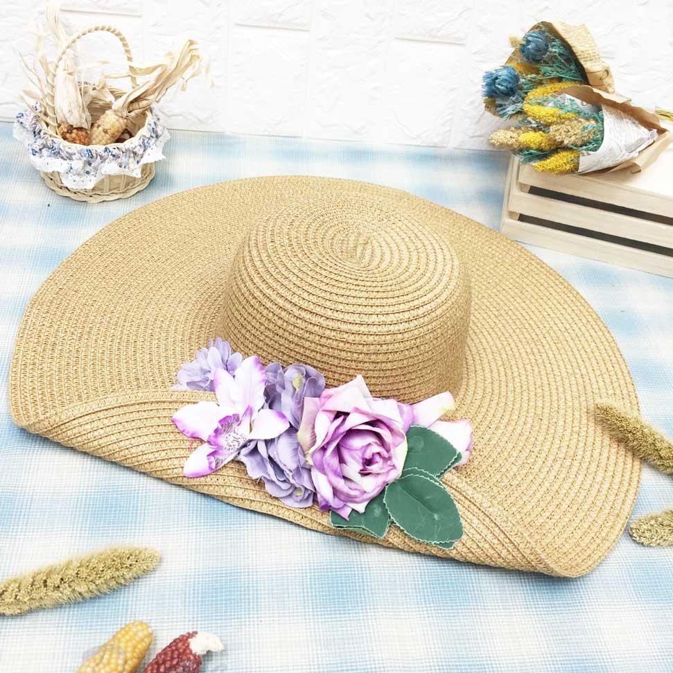 紫玫瑰花 渲染 單摺邊 拉繩可調鬆緊 帽子 遮陽帽 草帽