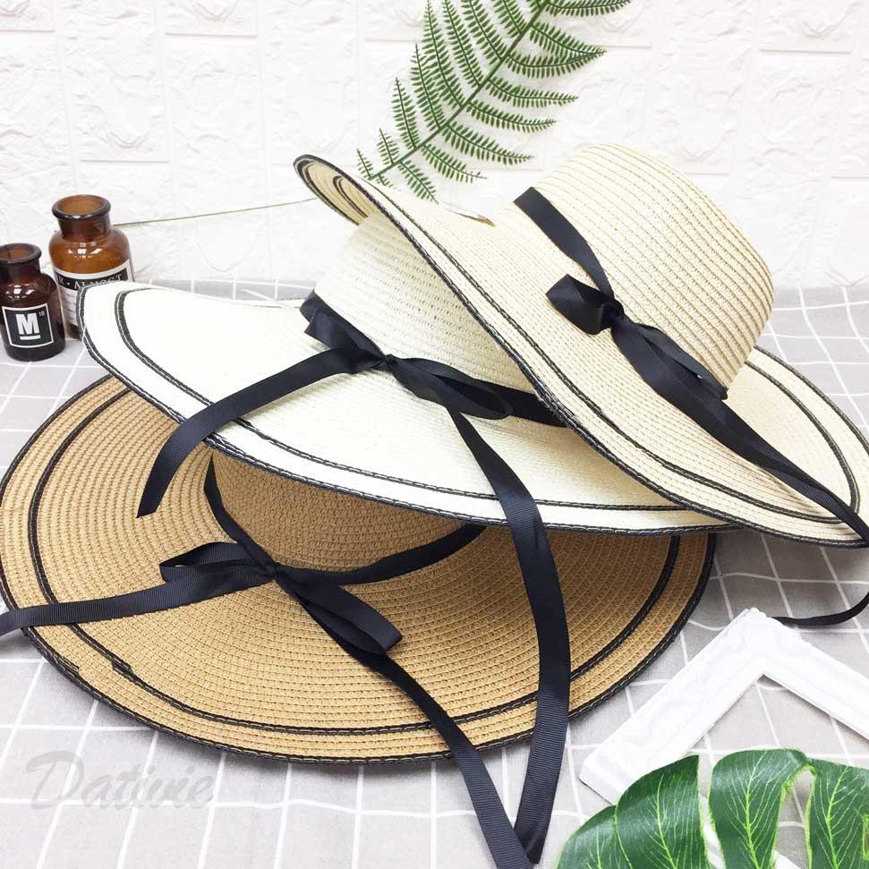 黑帶 蝴蝶結 帽沿黑色邊 編織款 拉繩 帽子 遮陽帽 草帽