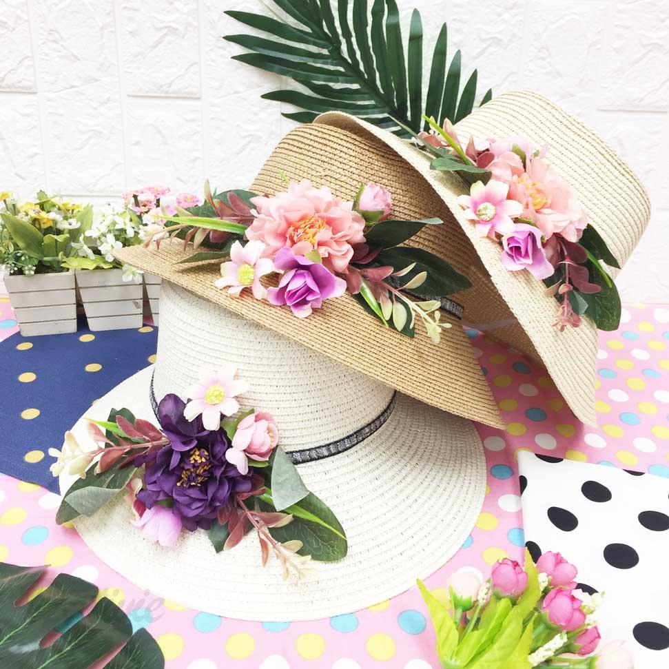 繽紛花朵 熱帶 夏威夷風 編織 拉繩 帽子 遮陽帽 草帽