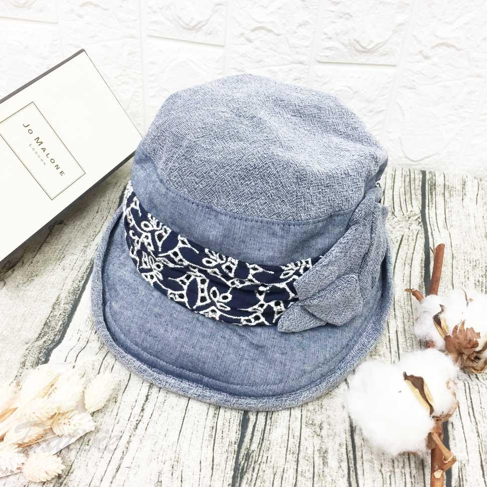 深藍色 捲邊 日式風布花 帽子 遮陽帽 淑女帽