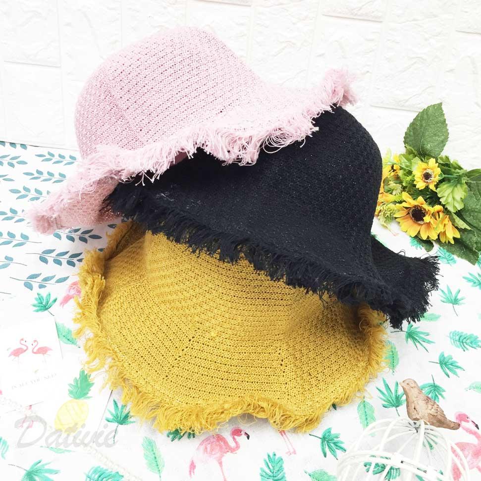 可愛素色編織 鬚邊 抽鬚 流蘇 鐵邊可彎曲造型 頭圍可調鬆緊 夏季 帽子 遮陽帽 草帽