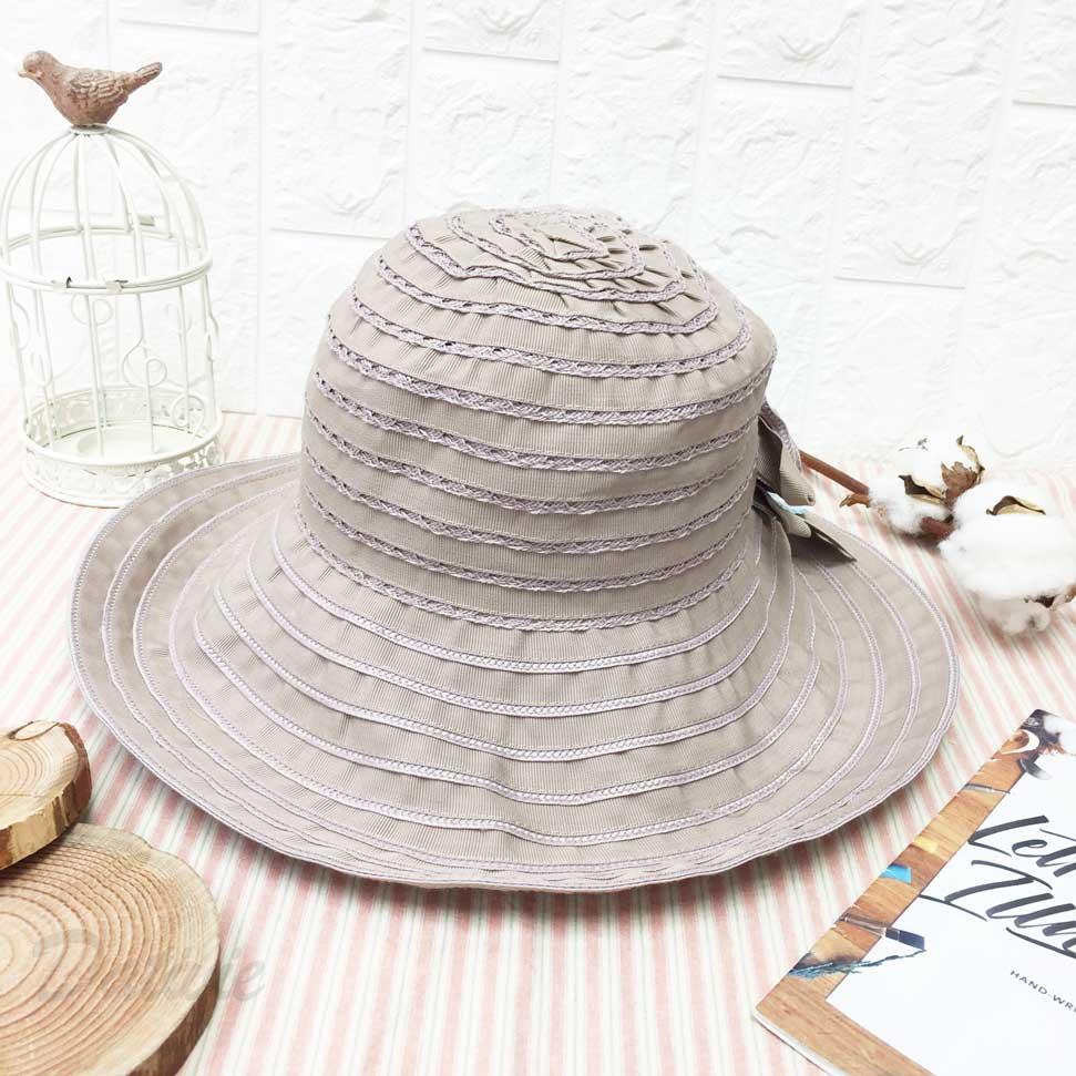 同色玫瑰 編織條紋 抗UV 涼感 頭圍可調鬆緊 帽子 遮陽帽 淑女帽
