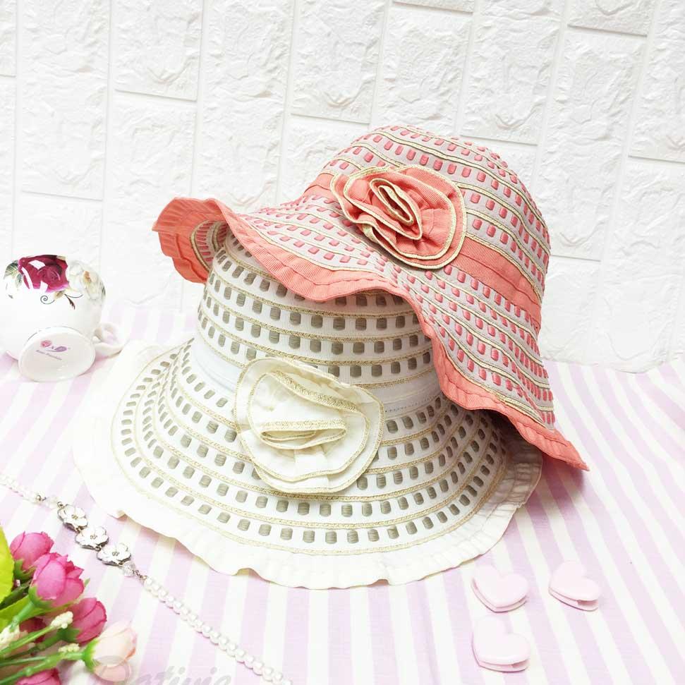 小方格子 滿版 層次 花朵裝飾 帽沿波浪邊 可彎曲造型 帽子 遮陽帽 淑女帽