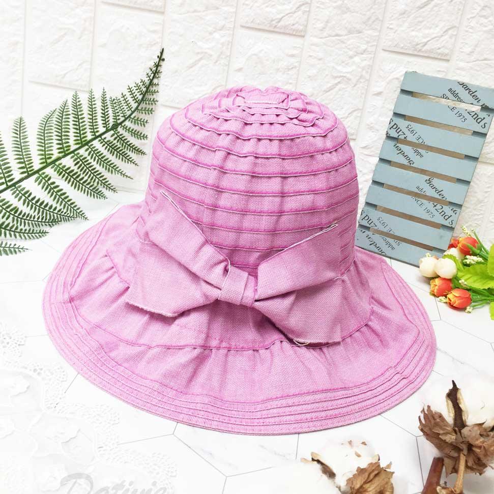 皺褶 抓皺層次 粉色 蝴蝶結 帽沿車邊 拉繩可調鬆緊 帽子 遮陽帽 淑女帽