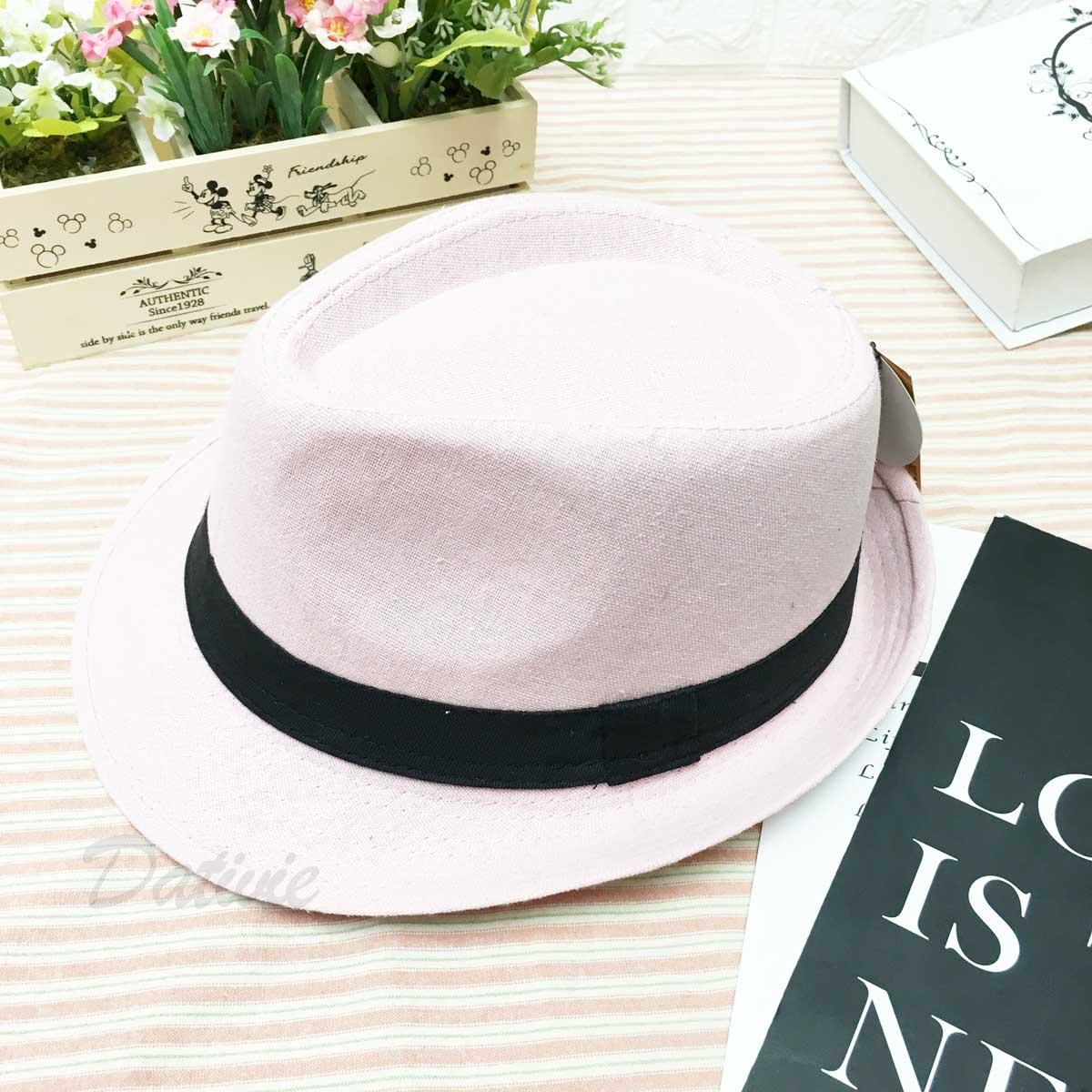 粉色 素面 黑帶 帽子 紳士帽 遮陽帽 淑女帽