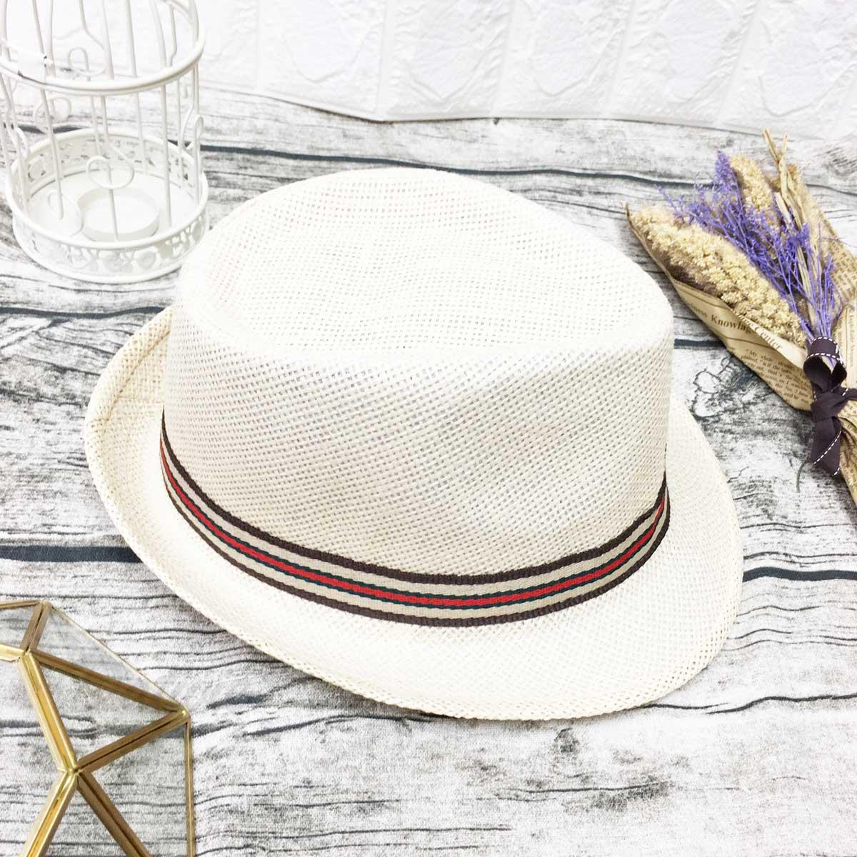 編織紋 紅綠配色 可調式鬆緊 帽子 紳士帽 遮陽帽 草帽
