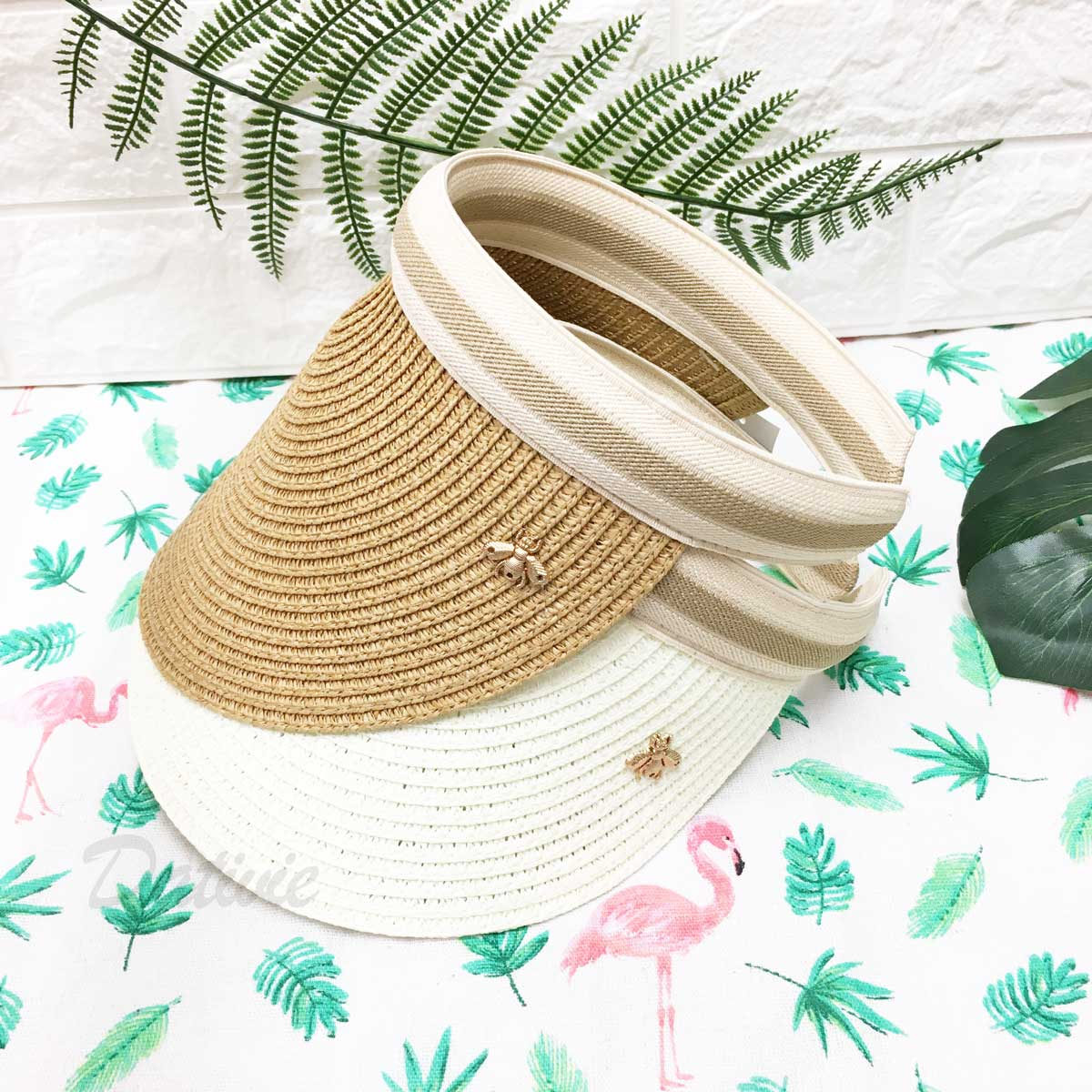 夏季編織款 古銅金蜜蜂 米咖色邊 配色 防曬 空頂遮陽帽 草帽
