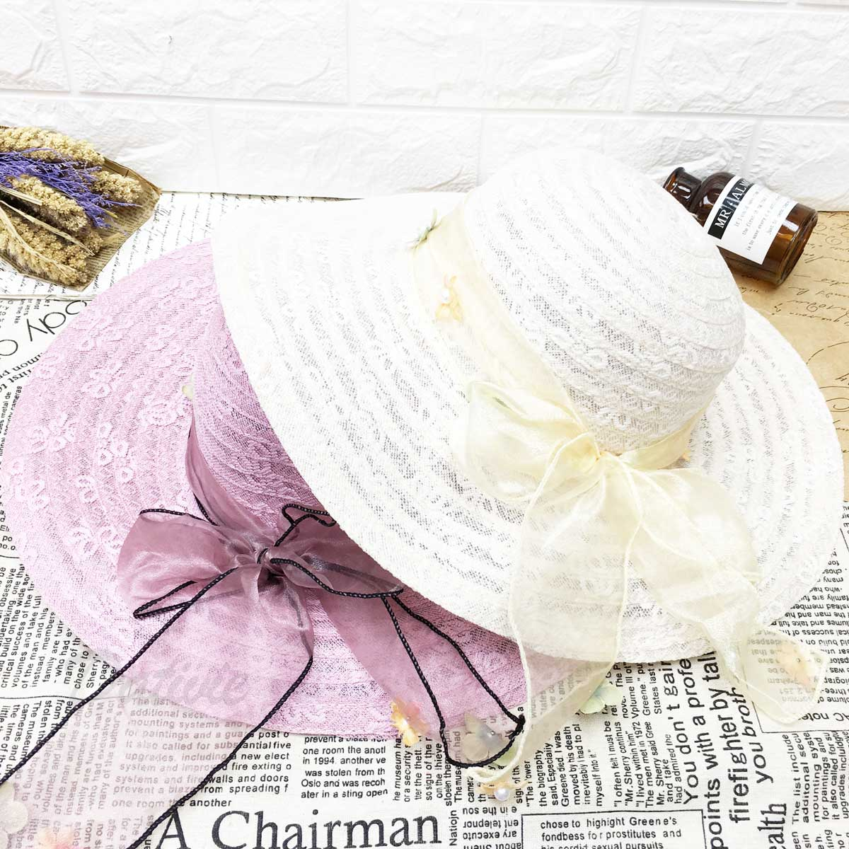 蕾絲 氣質款 綁緞帶 珍珠小花朵 可調式鬆緊 帽子 遮陽帽 草帽