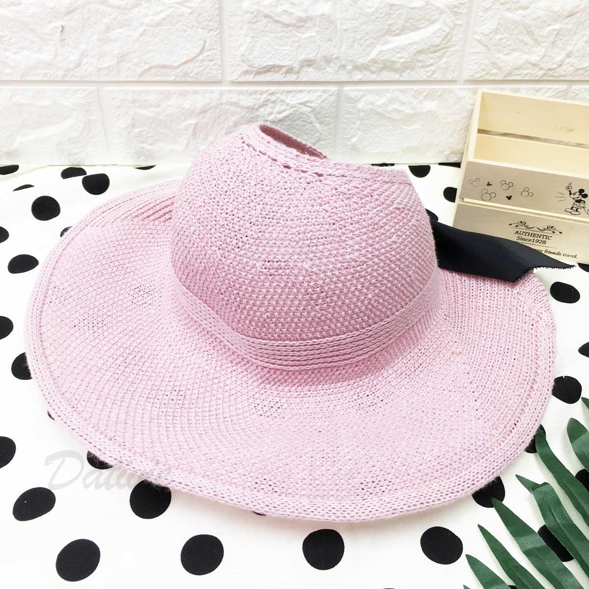 粉色 編織紋 後魔鬼氈 綁黑蝴蝶結 帽子 遮陽帽 草帽