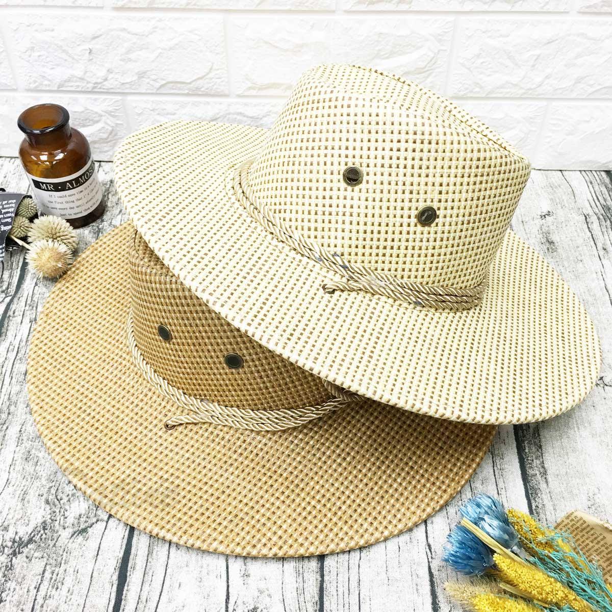 可愛眼睛 編繩裝飾 拉繩可調鬆緊 帽子 遮陽帽 草帽
