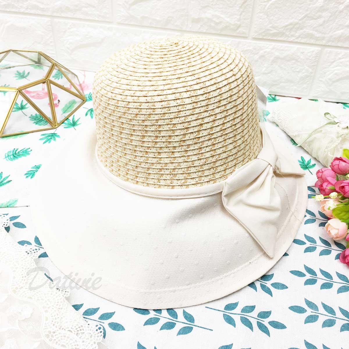 米色 編織 圍布邊 點點 蝴蝶結 附可調式鬆緊帶 帽子 遮陽帽 草帽