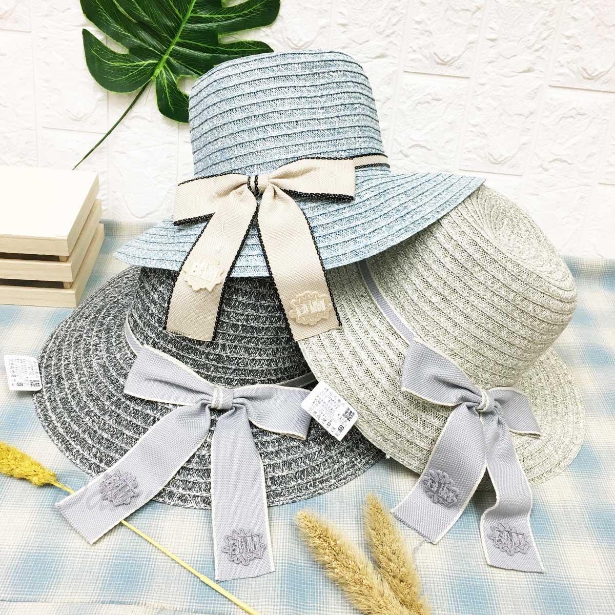 配色 綁帶 蝴蝶結 貼標 刷色 層次 帽子 遮陽帽 草帽