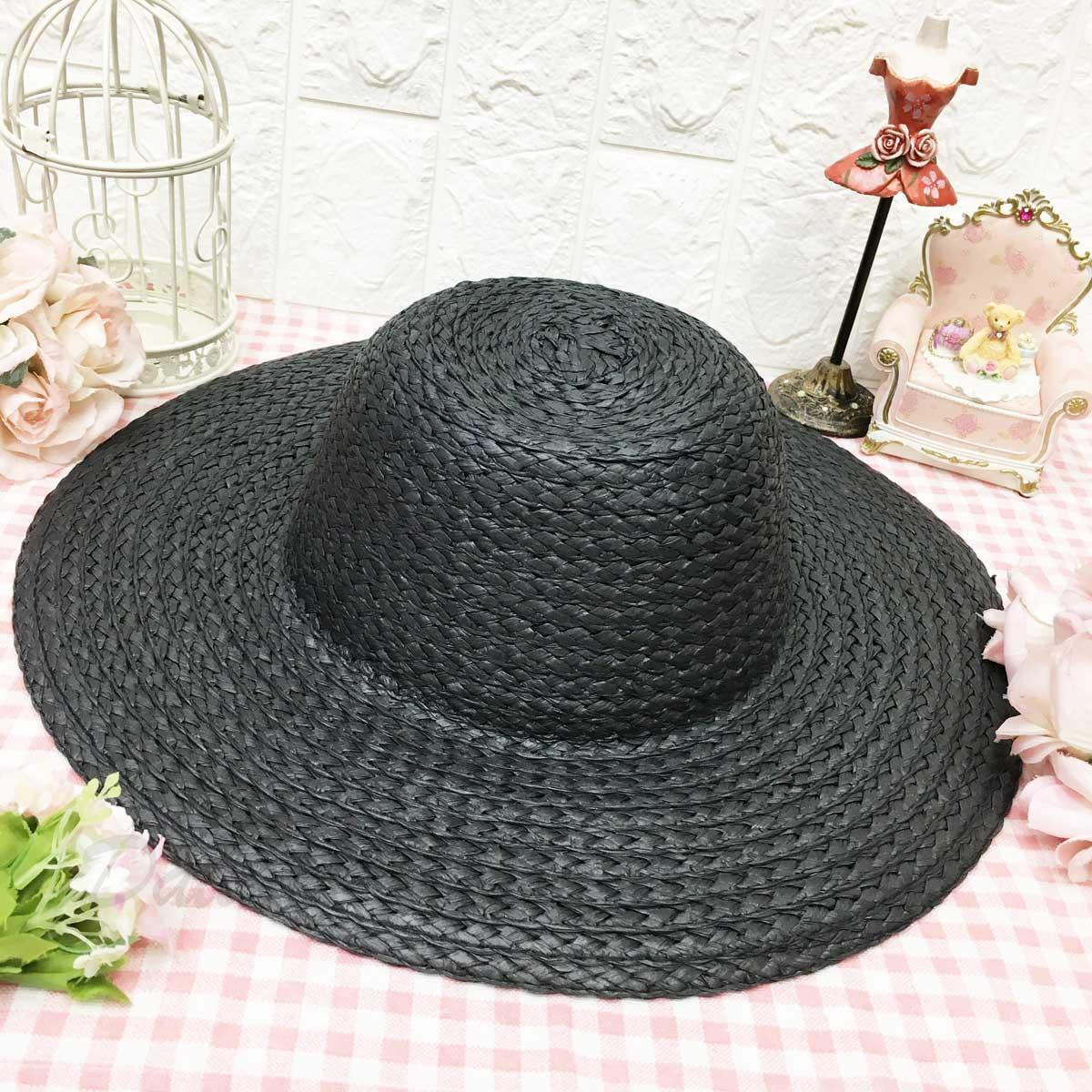 黑色 素面 單色 頭圍可調鬆緊 編織款 帥氣 個性風 帽子 遮陽帽 草帽