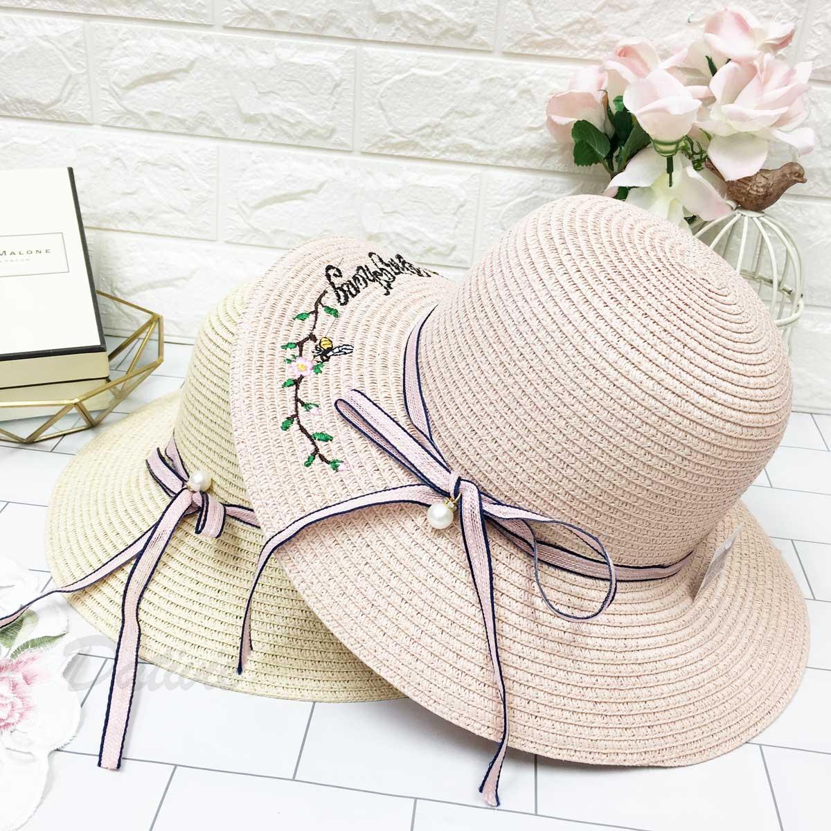 英文字 蜜蜂 花朵 枝葉 可愛圖案 綁帶蝴蝶結 珍珠裝飾 拉繩 帽子 遮陽帽 草帽