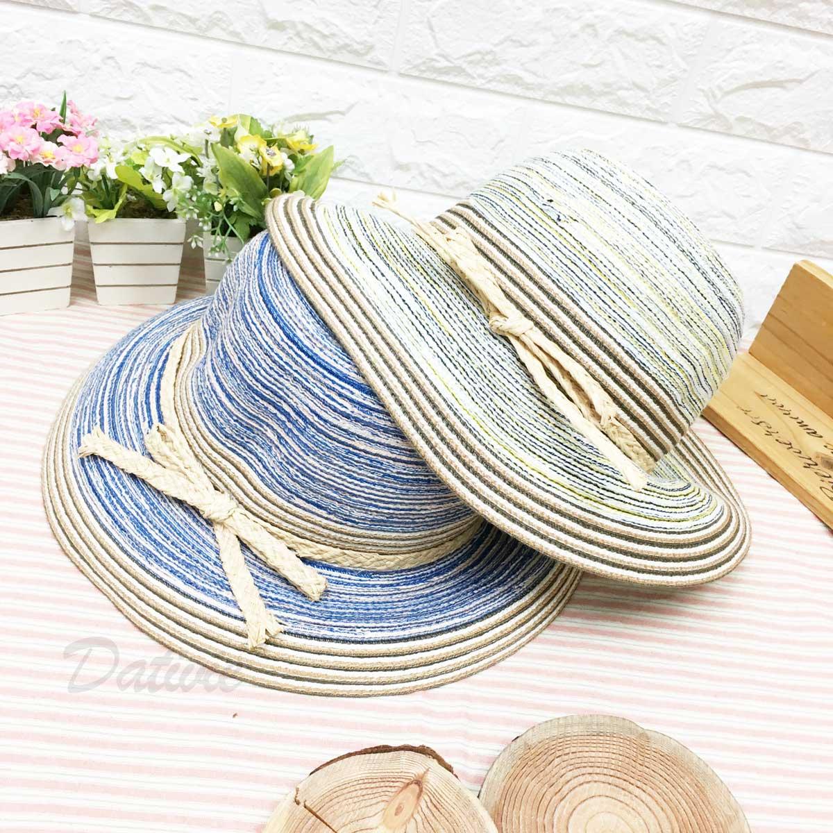 藍色 混色 編織 綁竹編 蝴蝶結裝飾 帽子 遮陽帽 草帽