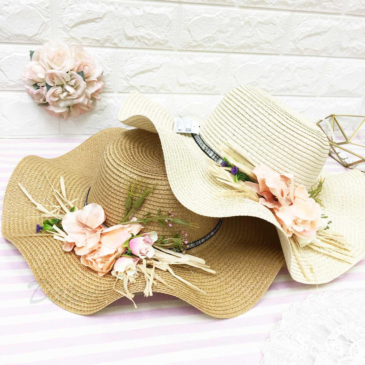 波浪邊帽沿 細緻編織紋路 配花朵 拉繩 淑女風 帽子 草帽