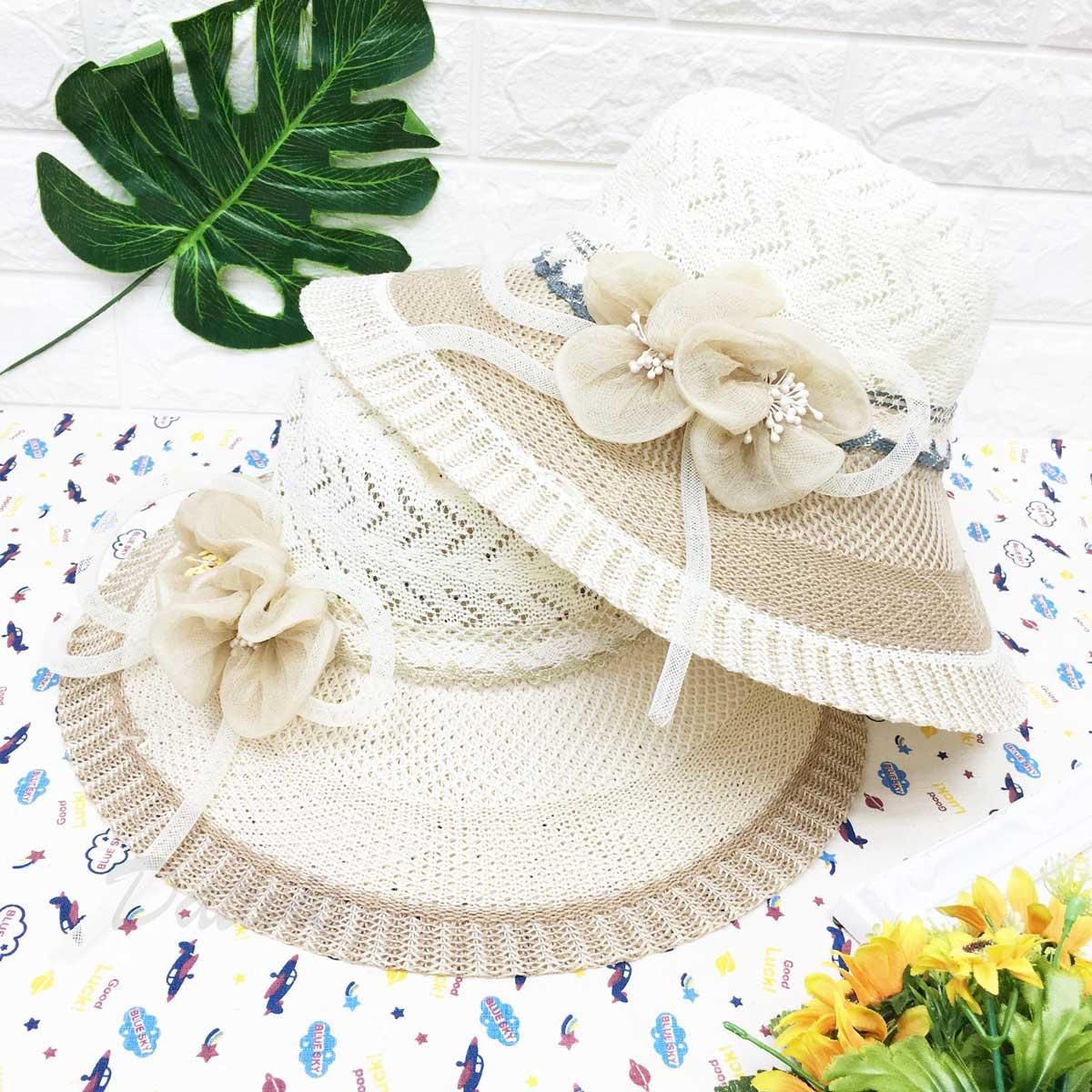 箭頭紋路 編織 漸層 帽沿包邊針織紋路 網紗花朵裝飾 拉繩 帽子 遮陽帽 草帽