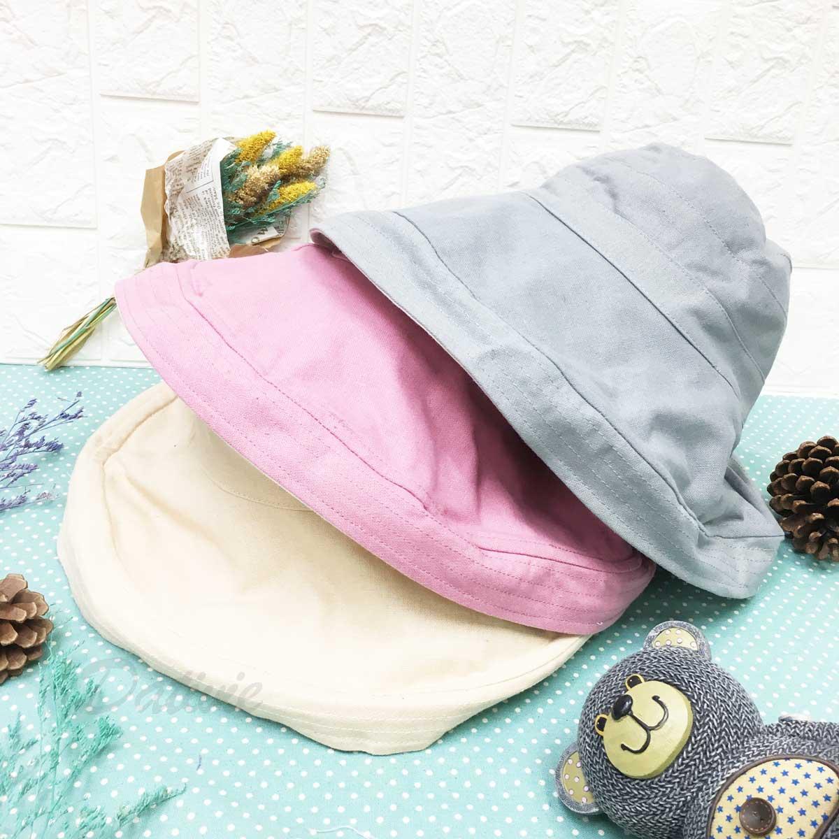 棉麻素面 簡單風 鐵邊可彎曲造型 帽子 遮陽帽 淑女帽