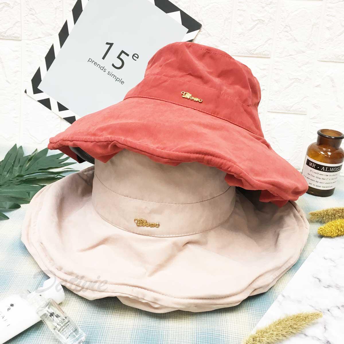 霧面絨質 金標 鐵邊可彎曲造型 帽子 遮陽帽 淑女帽