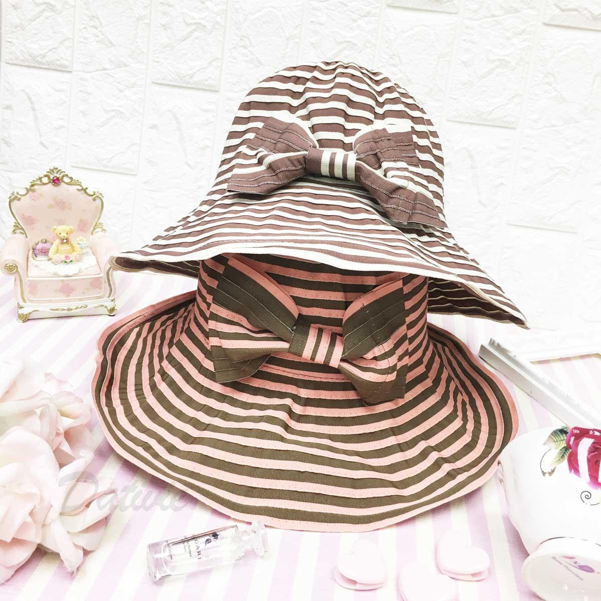 鮮豔繽紛 巧克力色 條紋 蝴蝶結 鐵邊可彎曲造型 頭圍可調鬆緊 帽子 遮陽帽 淑女帽