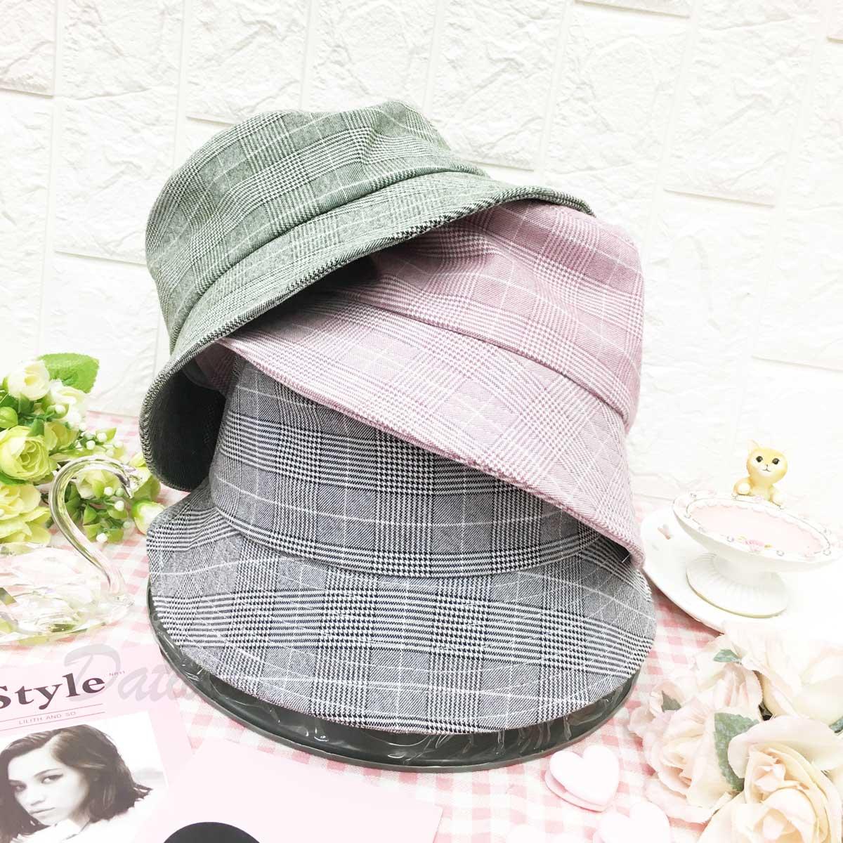 格紋 千鳥格紋 帽沿車線 帽子 淑女帽