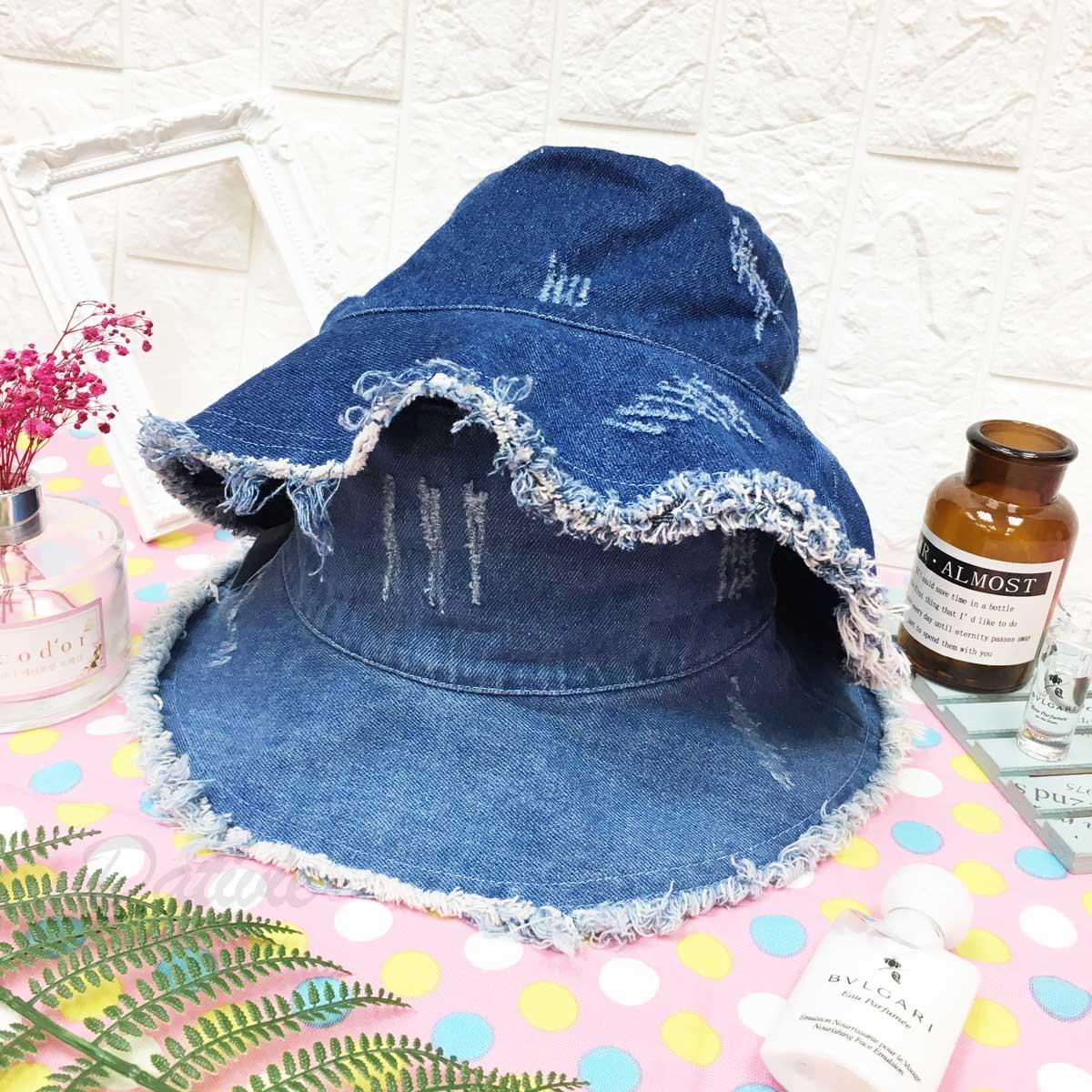 牛仔色 抽鬚 流蘇 刷破 刷色 抓痕 特色 個性風 帽子 淑女帽