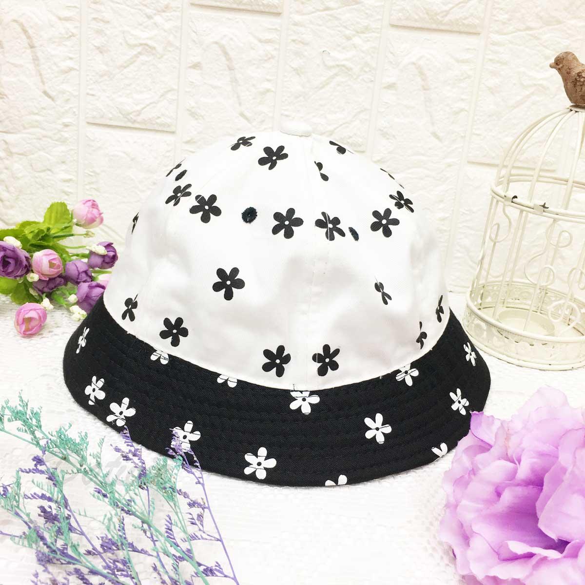 滿版小花 黑白對比 帽沿車線 可愛風 帽子 淑女帽
