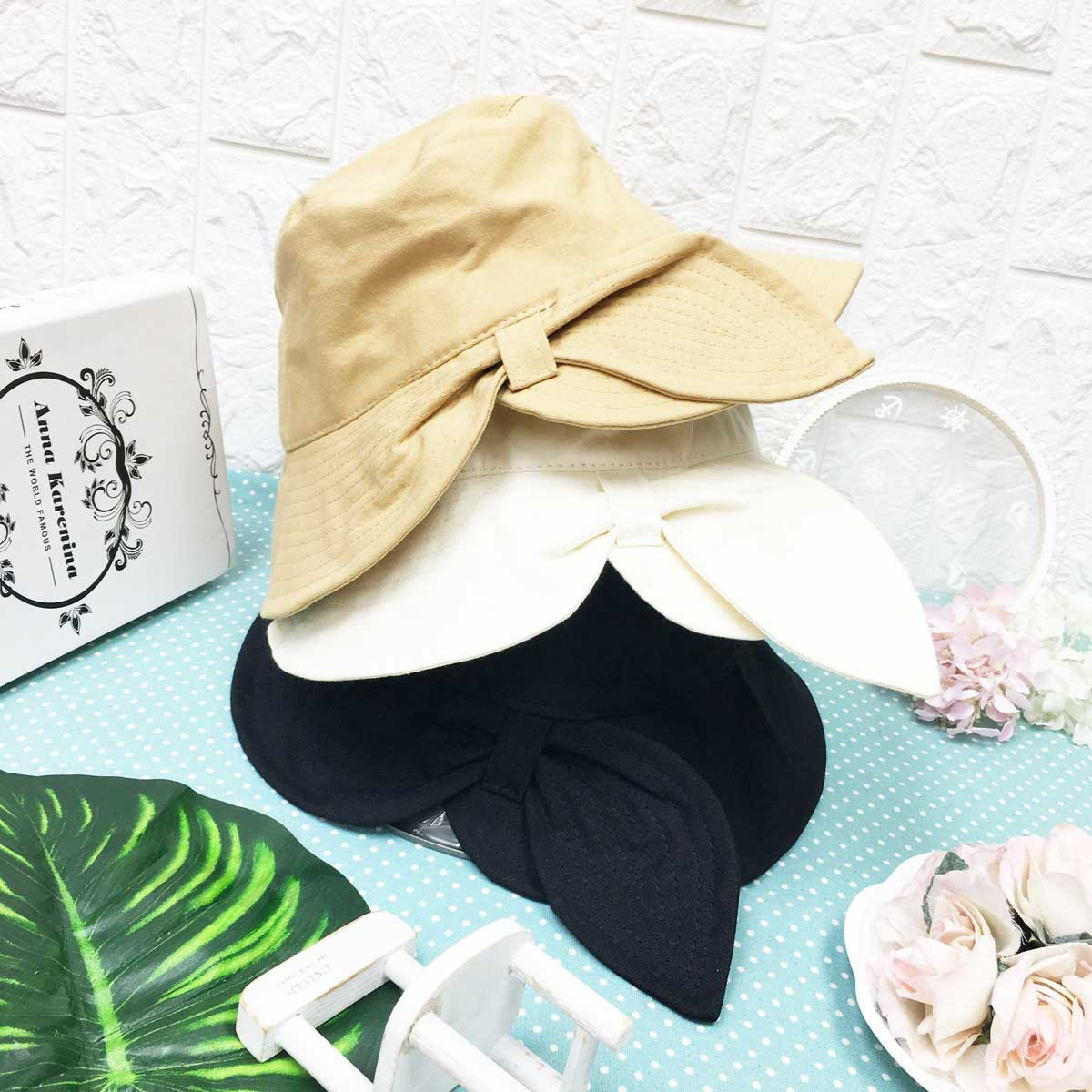 半結 開岔 素色 少女風 帽子 遮陽帽 淑女帽