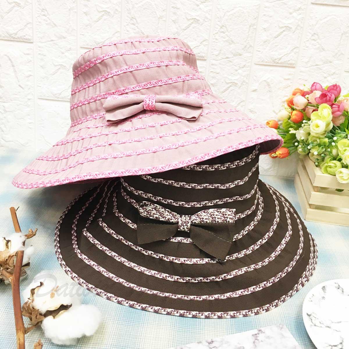 配色 小蝴蝶結 層次 抗UV 涼感 頭圍可調鬆緊 帽子 遮陽帽 淑女帽