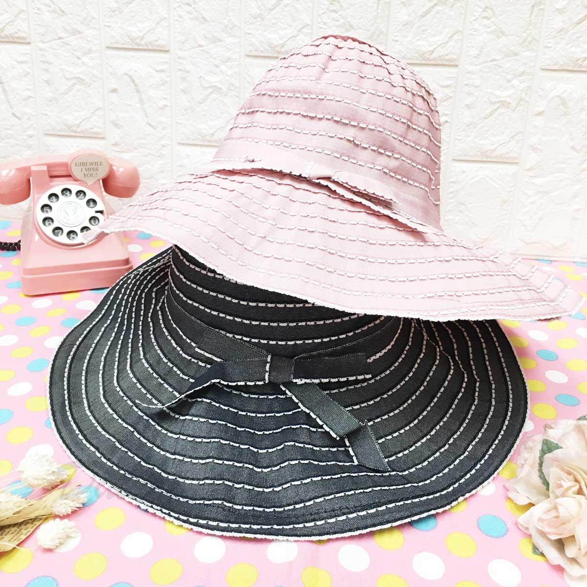花邊 配色 蝴蝶結 鐵邊可彎曲造型 頭圍可調鬆緊 帽子 遮陽帽 淑女帽