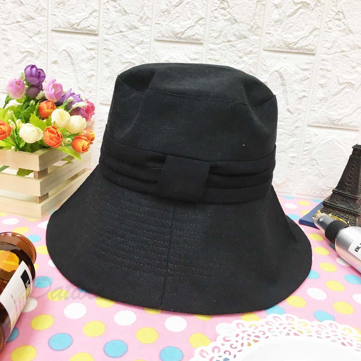 黑色 素面 簡約 帽沿車線 帽子 遮陽帽 淑女帽