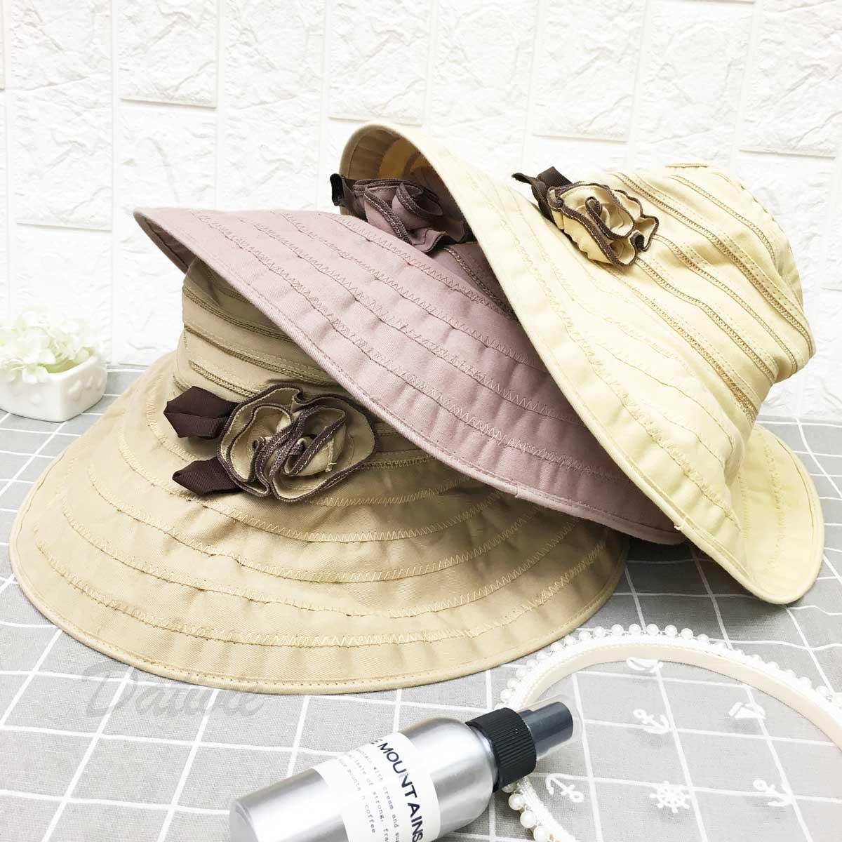 抗UV 涼感 同色系玫瑰花 帽沿車線 頭圍可調鬆緊 帽子 遮陽帽 淑女帽