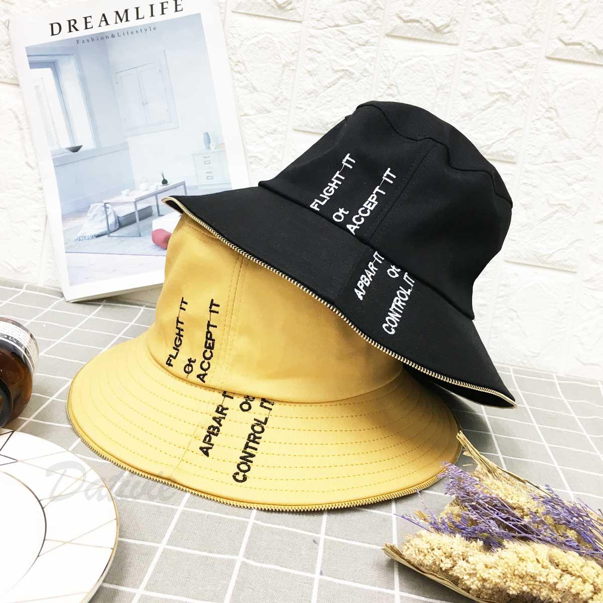 拉鍊邊 配色 英文字 黑標 個性風 頭圍可調鬆緊 帽子 淑女帽
