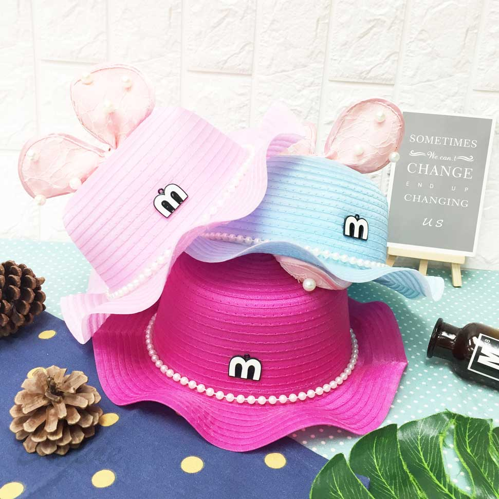 兒童帽 眼睛 立體蕾絲蝴蝶結 珍珠 帽沿波浪邊 有拉繩 帽子