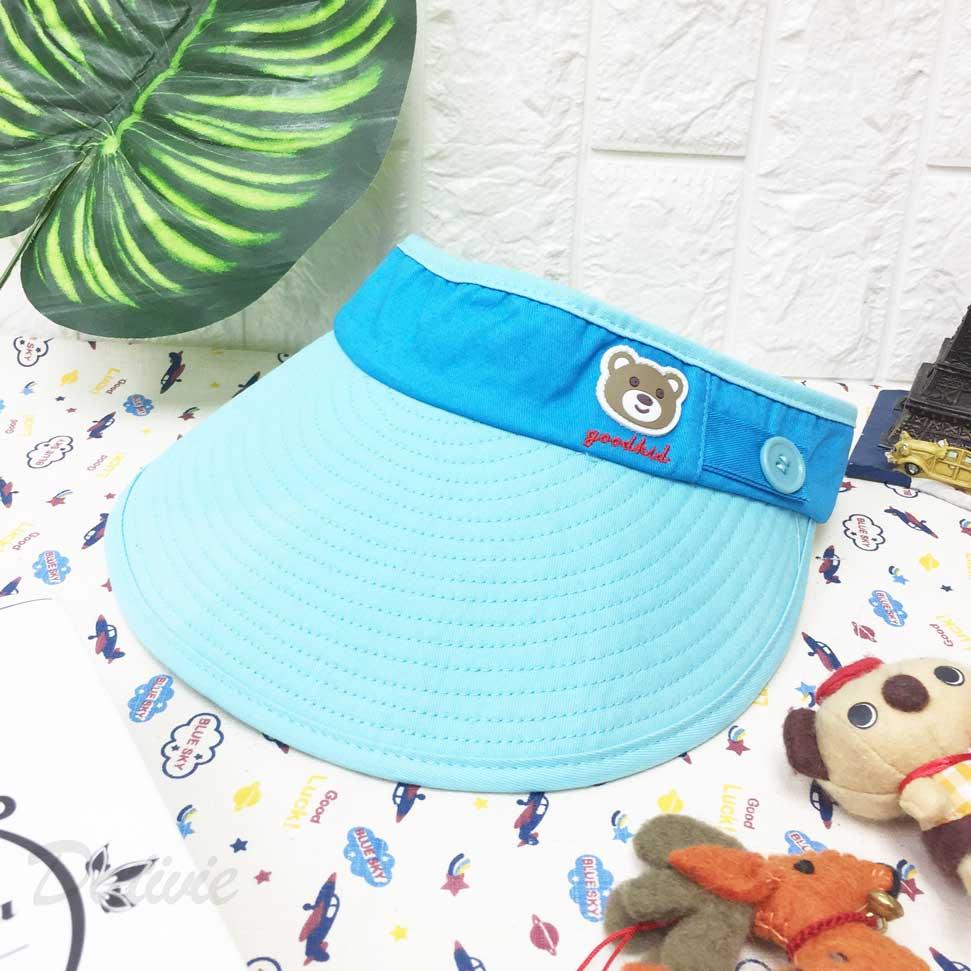 兒童帽 水藍色 熊熊 鈕扣 英文字 刺繡 配色 後魔鬼氈可調 帽子 遮陽帽