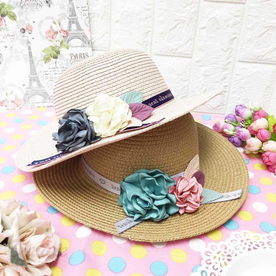 兒童帽 異國風情 綁帶 繽紛花朵 編織款 配色 有拉繩 帽子 草帽