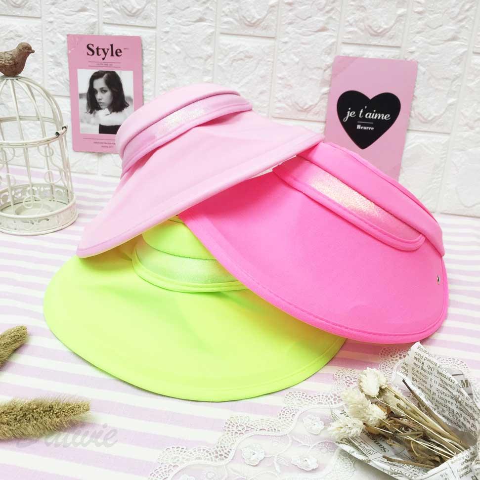 髮箍遮陽帽 螢光色 扣子 側邊可拉出遮陽 內裡柔軟舒適 帽子 空頂帽