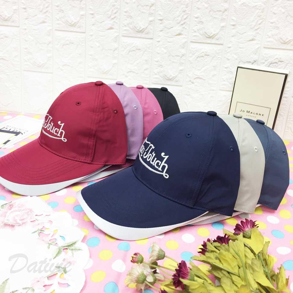 棒球帽 抗UV 英文字Logo 帽沿配色車線 後透氣孔洞 可調鬆緊 帽子