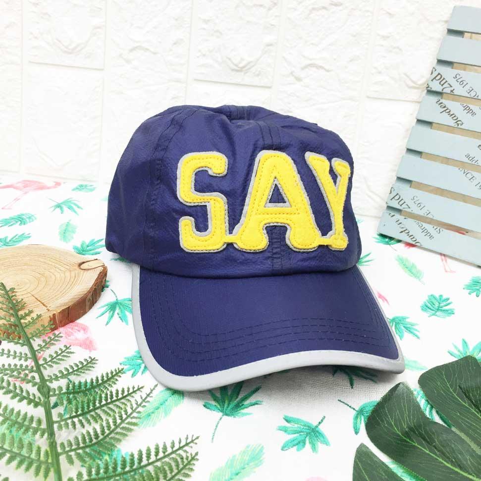 棒球帽  立體文字 SAY  黃色 貼布 帽沿包邊配色 後魔鬼氈可調鬆緊 帽子