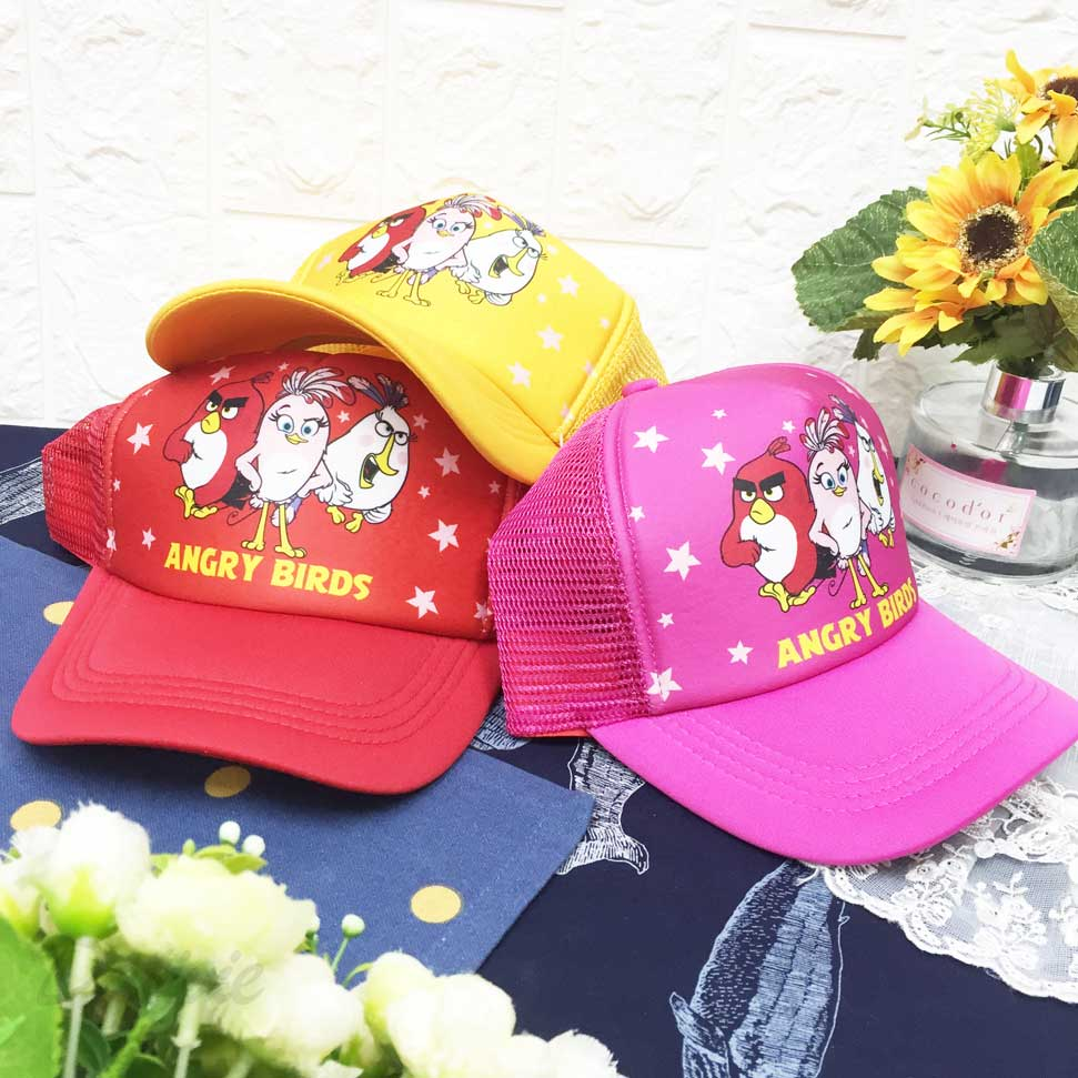 兒童帽 Angry Birds 憤怒鳥 星星 帽沿車邊 透氣式 後可調鬆緊 帽子 網帽 棒球帽