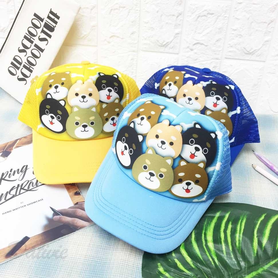 兒童帽 六隻小狗 柴犬 柴柴 黑柴犬 奶油柴犬 內裡柔軟 透氣式 後可調鬆緊 帽子 網帽