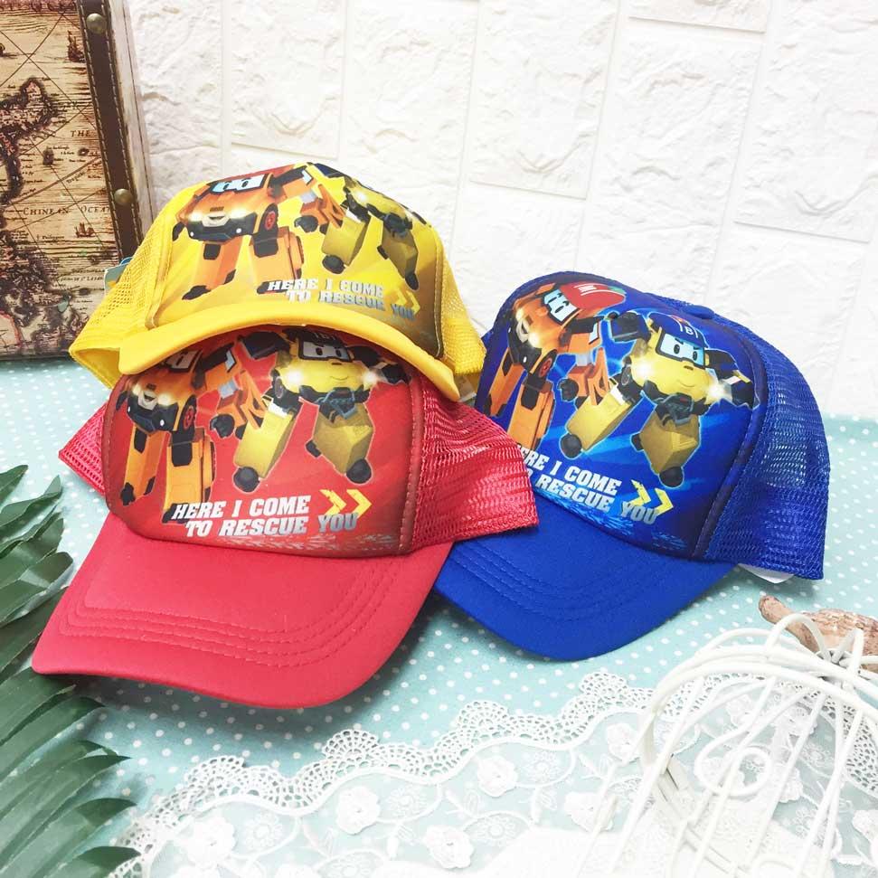 兒童帽 波力 POLI 英文字 救援小英雄 後可調鬆緊 透氣 帽子 網帽