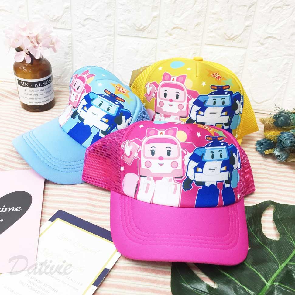 兒童帽 POLI 波力 安寶 星星 圓點 內裡柔軟 透氣式 後可調鬆緊 帽子 網帽