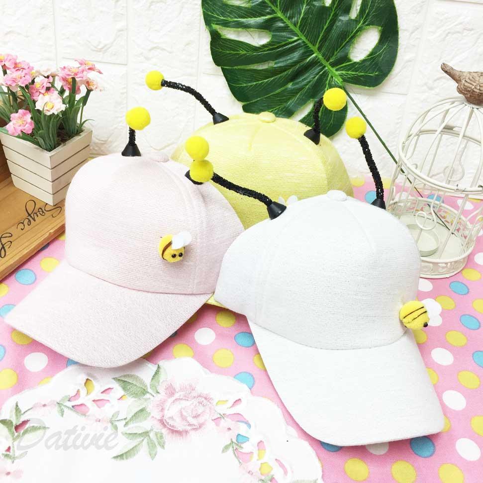 兒童帽 小蜜蜂 立體觸角 毛球 閃亮 亮片 後鬆緊帶可調 帽子 棒球帽