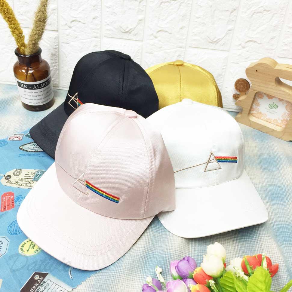 兒童帽 三角形 彩虹 側邊大笑臉圖 刺繡 後鬆緊可調 帽子 棒球帽