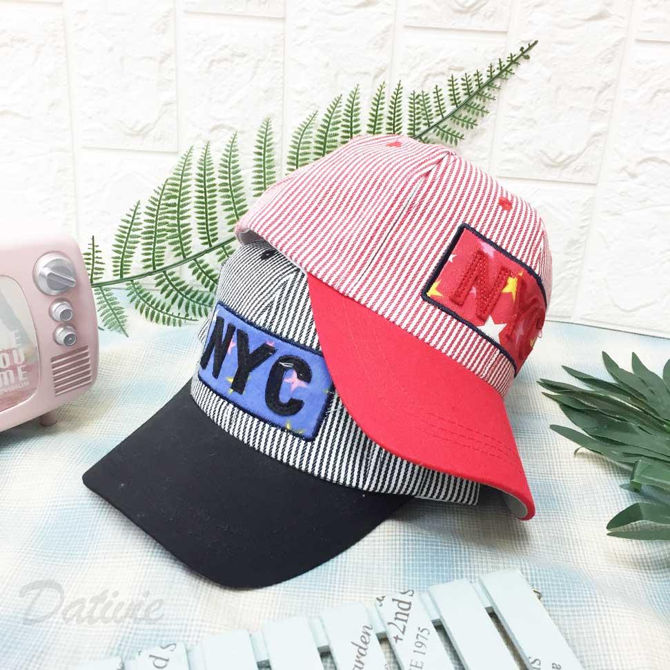 棒球帽 條紋 NYC 立體英文字 標籤框 星星 配色 後可調鬆緊 帽子