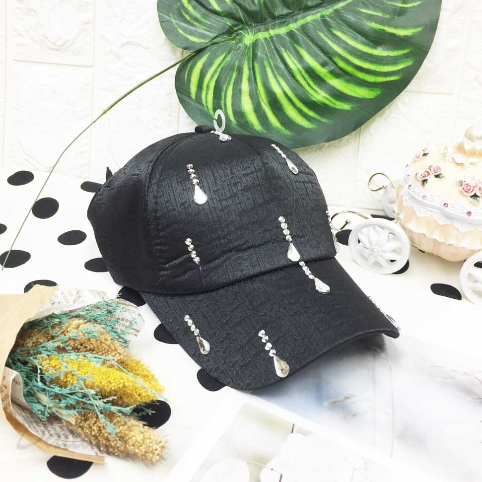 兒童帽  黑色 紋路 鑲鑽 水滴型水鑽 後鬆緊可調 帽子